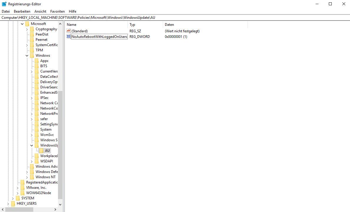 Registry-Eintrag zum deaktivieren des automatischen Neustarts.  Setzen des Wertes NoAutoRebootWithLoggedOnUsers auf 1 in Computer\HKEY_LOCAL_MACHINE\SOFTWARE\Policies\Microsoft\Windows\WindowsUpdate\AU
